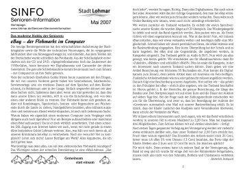 SINFO Mai 2007_Internet.qxp - Stadt Lohmar