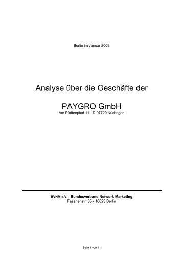 Analyse über die Geschäfte der PAYGRO GmbH - MLM