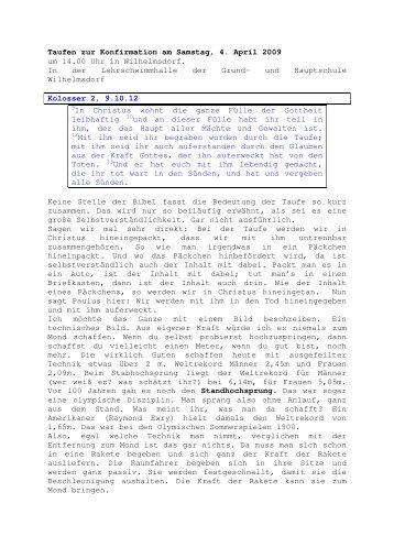 04.04 Kolosser 2, 9.10.12 Taufen zur Konfirmation