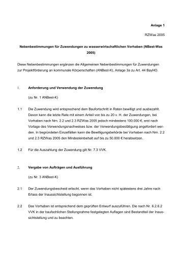 Anlage 1: Nebenbestimmungen für Zuwendungen zu ...