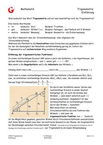Einfuhrung In Die Trigonometrie Harderweb De