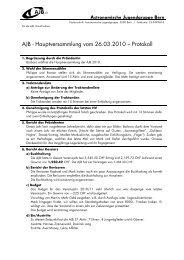 AJB - Hauptversammlung vom 26.03.2010 – Protokoll