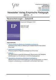 Newsletter Verlag Empirische Pädagogik 2013 – 1