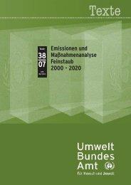 Emissionen und Maßnahmenanalyse Feinstaub 2000 - 2020 - Helix ...