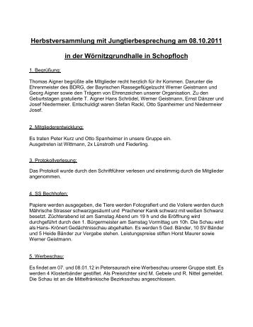 Bericht von der Herbstversammlung 2011 - SV Mährische Strasser ...