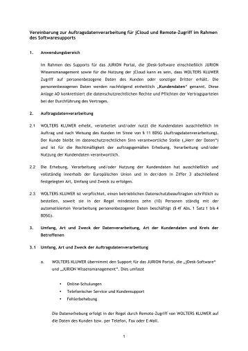 vereinbarung zur auftragsdatenverarbeitung fr jcloud und jurion - Auftragsdatenverarbeitung Muster