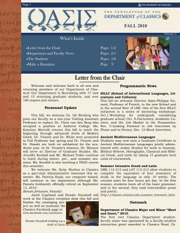 FALL 2010 - Classics - University of Arizona