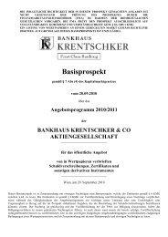 Basisprospekt - Bankhaus Krentschker & Co. Aktiengesellschaft