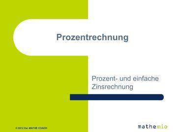 Prozentrechnung by mathemio - Der MATHE COACH