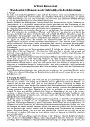 Kritik an der Evolutionstheorie - Wiesenfelder.de