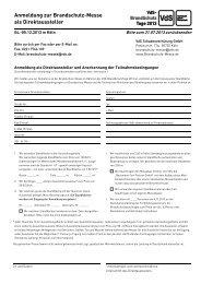 Anmeldung zur Brandschutz-Messe - VdS-BrandSchutzTage