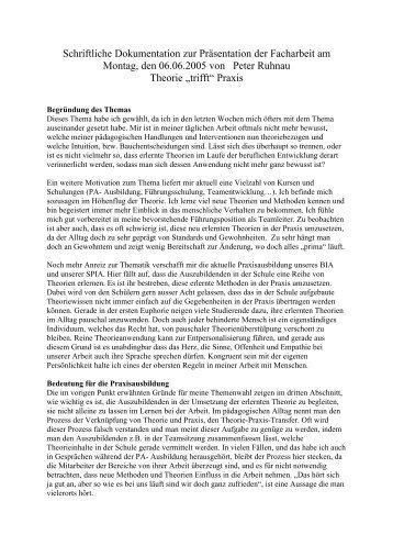 Schriftliche Dokumentation zur Präsentation der ... - Ruhnau-web.de