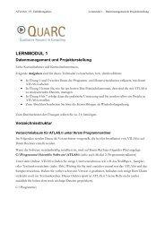 Datenmanagement und Projekterstellung