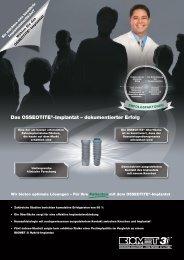 Das OSSEOTITE®-Implantat – dokumentierter Erfolg - BIOMET 3i