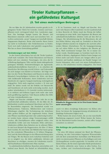 Tiroler Kultur-Pflanzen (6. Teil). Vom Moogn - Boku