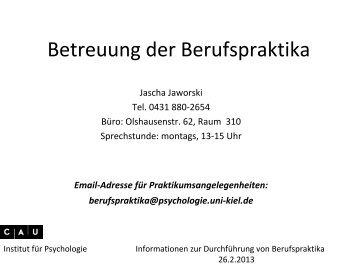 Regeln und Verfahren des Praktikums - Institut für Psychologie