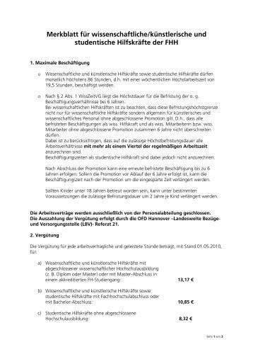 Info für wissenschaftliche/künstlerische und studentische Hilfskräfte ...