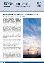 "Anlagecheck ""ÖKORENTA Zukunftsenergien I"" - ECOreporter.de"