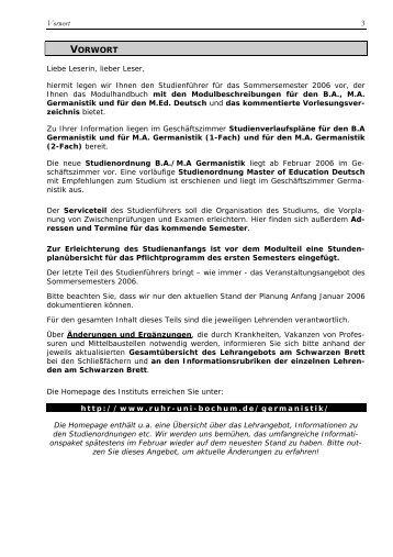 Vorwort 3 VORWORT - Ruhr-Universität Bochum