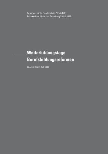 Weiterbildungstage Berufsbildungsreformen - Berufsschule Mode ...