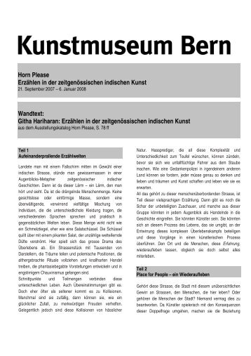 Wandtext Horn Please (pdf) - Kunstmuseum Bern