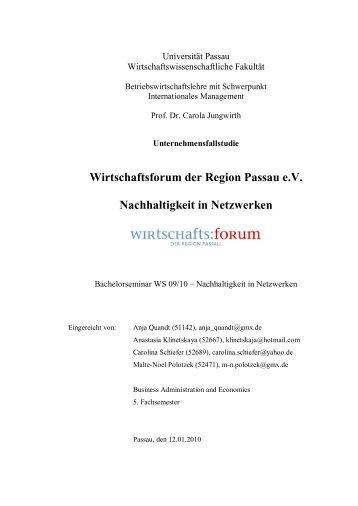 Wirtschaftsforum der Region Passau eV Nachhaltigkeit in Netzwerken
