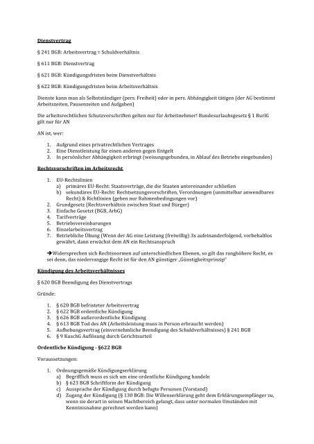 Dienstvertrag 241 Bgb Arbeitsvertrag Schuldverhältnis 611
