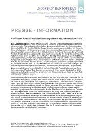 PRESSE - INFORMATION - Moorbad Bad Doberan