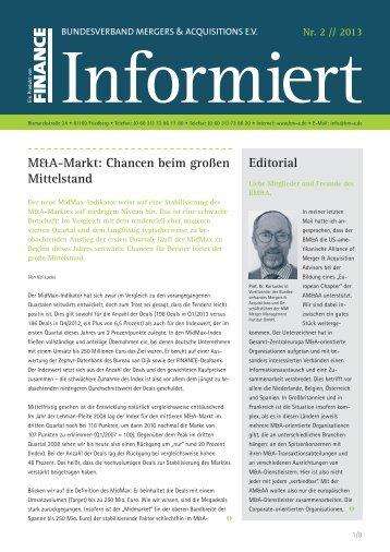 Editorial M&A-Markt: Chancen beim großen Mittelstand - FINANCIAL ...