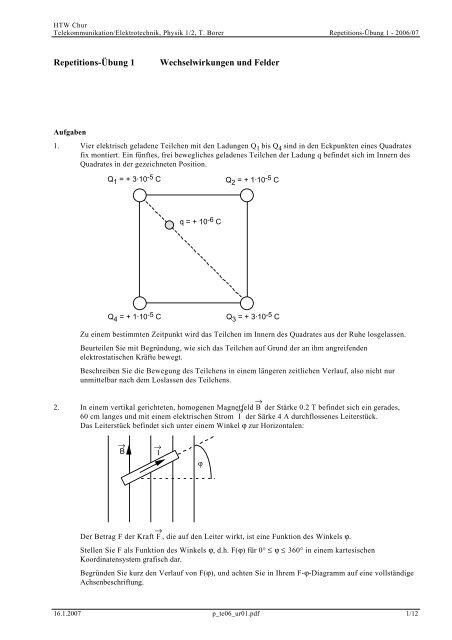Repetitions-Übung 1 Wechselwirkungen und Felder - Thomas Borer