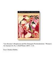 Lee Krasner's Skepticism and Her Emergent ... - Robert Hobbs