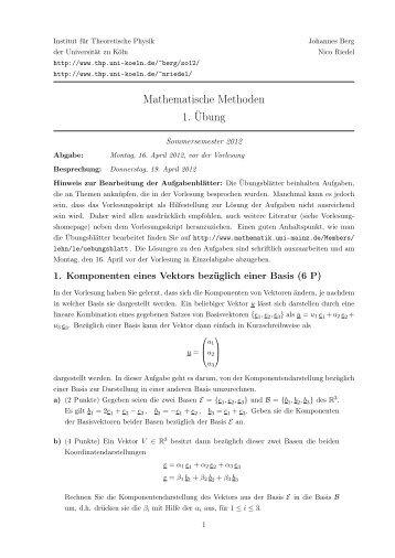 Blatt 1 - Universität zu Köln