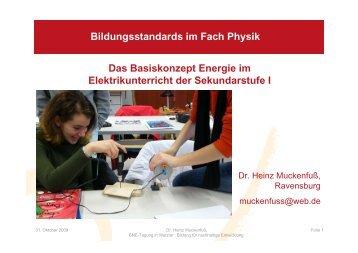 Das Basiskonzept Energie im Elektrikunterricht der Sekundarstufe I ...