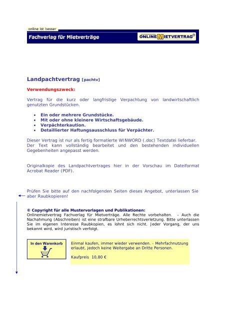 Landpachtvertrag Pachtvertrag Für Onlinemietvertrag