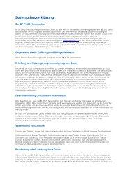 Datenschutzerklärung - BP