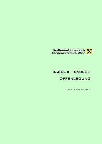 BASEL II – SÄULE 3 OFFENLEGUNG gemäß § 26 ... - Raiffeisen