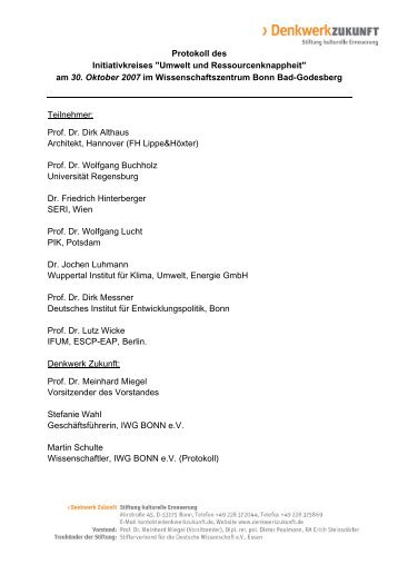 """Initiativkreis """"Umwelt und Ressourcenknappheit"""" - Denkwerk Zukunft"""