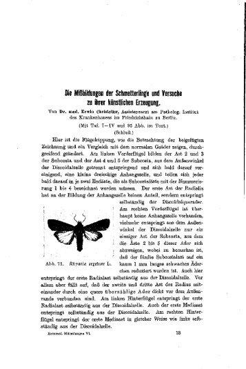Die Mißbildungen der Schmetterlinge und Versuche zu ihrer ...