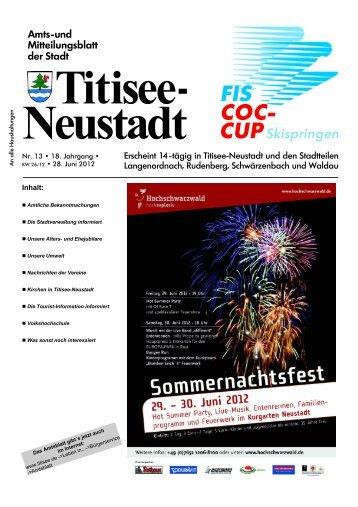 Amtsblatt Nr. 13 vom 28.06.2012 - Titisee-Neustadt