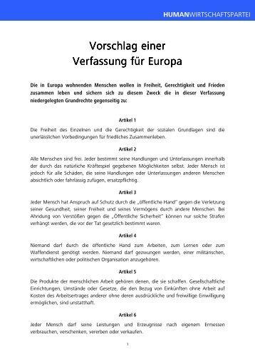 Vorschlag einer Vorschlag einer Verfassung für Europa Verfassung ...