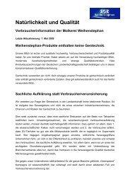 Verbraucherinformation der Molkerei Weihenstephan - Greenpeace