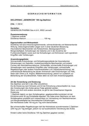 Diclofenac 100 mg Zpf. - Genericon Pharma GesmbH
