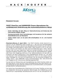 Download der Pressemitteilung - Hannover Finanz Austria