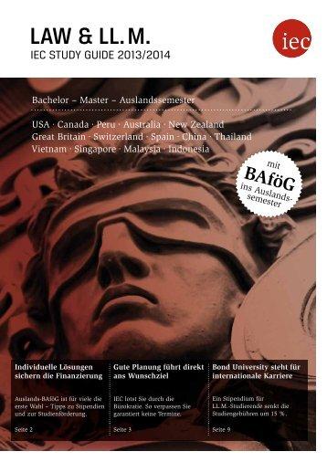 IEC Study Guide Law & LL.M. 2013/14 - Auslandssemester, Bachelor, Master