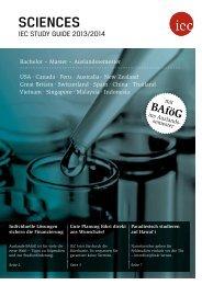 IEC Study Guide Sciences 2013/14 - Auslandssemester, Bachelor, Master