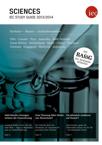 IEC Study Guide Sciences 2013/14 - Auslandssemester, Bachelor, Master