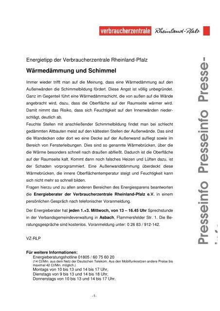 Dämmung und Schimmel - Verbandsgemeindeverwaltung Asbach