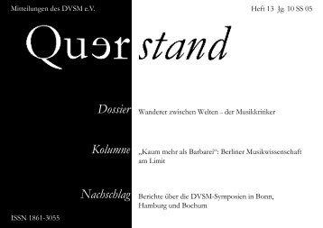 Querstand Nr. 13 Jg. 10 SS 2005 - Querstand - Zeitschrift für junge ...