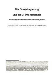 Die Sowjetregierung und die 3. Internationale im Schlepptau der ...