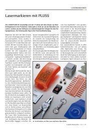 Lasermarkieren mit PLUSS - Laser Magazin